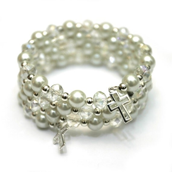White pearl and rondelle beaded wrap bracelet