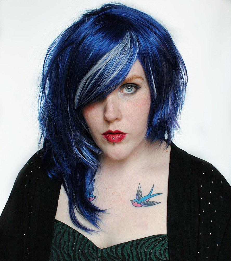 Cobalt Blaze // Blue Black Lavender Purple Silver // Edgy Punk