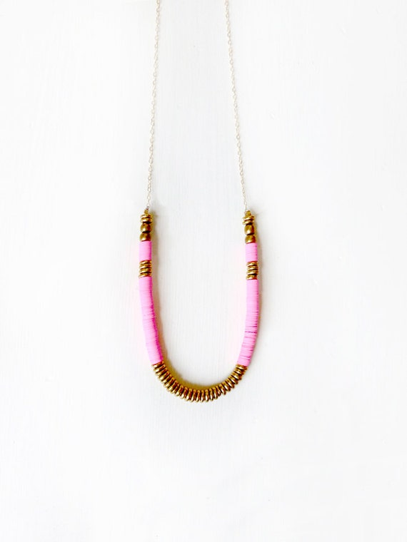 TWO LEFT Hot pink brass necklace