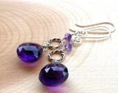 Long Dangling Amethyst Earrings Sterling Silver Grape Purple briolettes, February Birthday