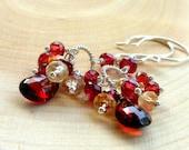 Cluster Earrings Garnet with Citrine, Red Gemstone Earrings Sterling Silver