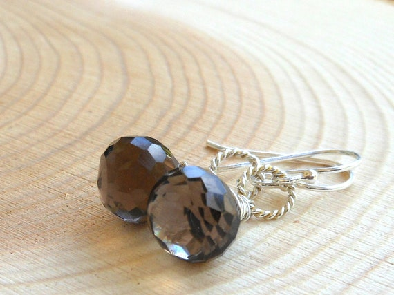 Smoky Quartz Earrings Sterling Silver Brown faceted Wire Wrapped Chocolate Kiss