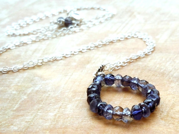 Reserved for K: Pendant Iolite Necklace Sterling Silver and Iolite Earrings