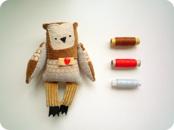 Benjamin  Little   Owl , soft art toy by  Wassupbrothers