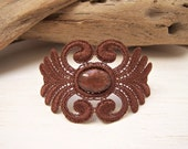 Acacia lace bracelet copper with matching vintage cabochon