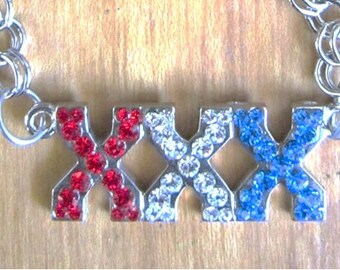 When your fun and you know it.. XXX necklace Red Whit and Blue Silver link chain
