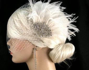 Fascinator, Wedding Accessories, Bridal Accessories, Rhinestone Bridal Ivory Fascinator, Bridal Fascinator, Wedding Veil, Bridal Veil