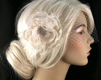 Handmade Champagne or Ivory Bridal Flower Fascinator with Veil, Bridal Fascinator, Bridal Flower Hair clip, Flower Hair Clip, Bandeau Veil