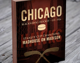 Chicago Blackhawks Art - Chicago Blackhawks - Wood Block Art Print