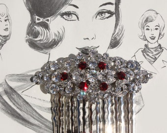 ruby red siam red crystal rhinestone silver bridesmaid bridal hair comb art deco vintage inspired wedding headpiece hair combs accessories