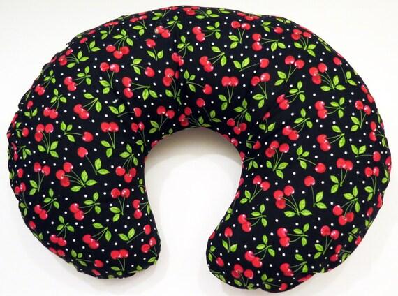 Boppy Nursing Pillow Cover Cherries And Polka Dots On Black