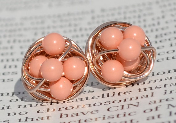 Pink Coral Pearl - Rose Gold Series- pink coral Swarovski pearl beads and Rose gold Wire Wrapped Stud Earrings