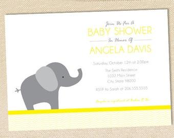 Elephant Baby Shower invitation - set of 12