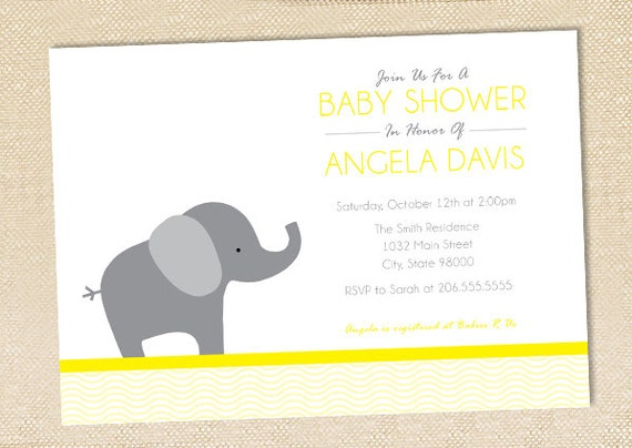 elephant baby shower invitation set of 12