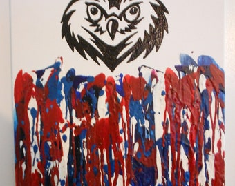 Owl Melted Crayon Painting