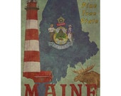 MAINE 1F- Handmade Passport / Documents Leather Neck Pouch - Travel Art
