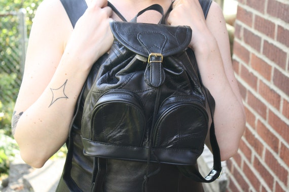 vintage 90s GOTH GRUNGE mini black patchwork leather backpack