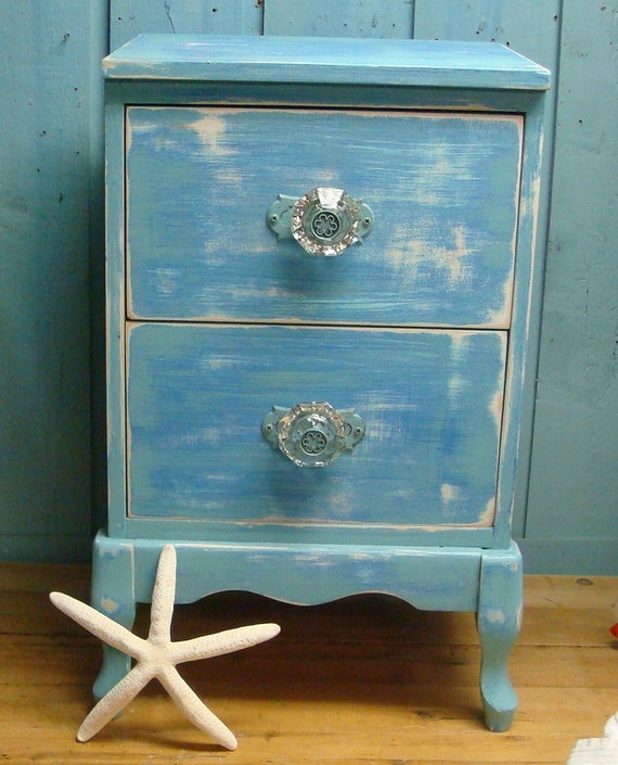 Turquoise Shabby Chic Bedrooms: Side Table Night Table Blue Turquoise Shabby Chic By