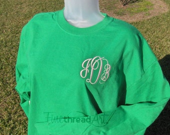 Monogram Long Sleeve Tee Tshirt 30 Colors No Pocket with Plus Size Options