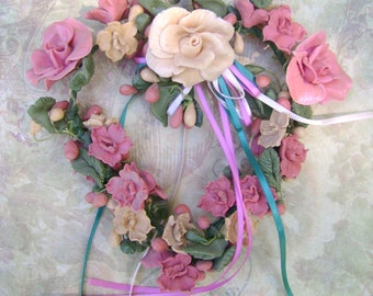 "Rose Quartz Heart Wreath -- Bread-Dough, Shabby, Farmhouse, Rose, Sage Green, Cream, Country decor, Hand-Made, 7"" x 7""."