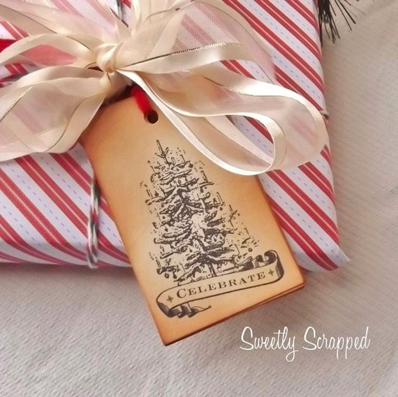 Christmas Tree Tags, Celebrate Tags, Large Tie On Tags