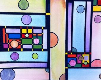 Abstract wall art, original watercolor