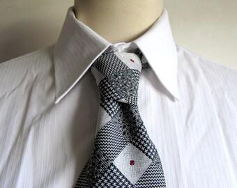50s Schiaparelli Necktie Vintage Black Gray 1950s Diamond Check Mens Necktie