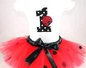 Ladybug tutu set SEWN - Love Bug -  red tutu with black polka dots and ladybug applique onesie - sizes NB to 4T