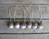 Felted wool acorn Christmas ornaments, wholesale set of 100, Natural White