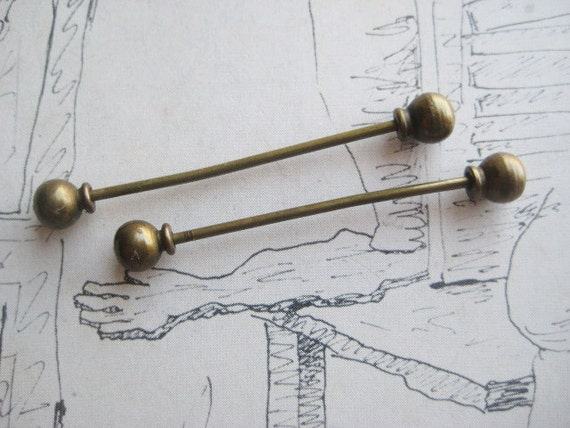 2 Mens Antique Edwardian  Brass Collar Stay Bars