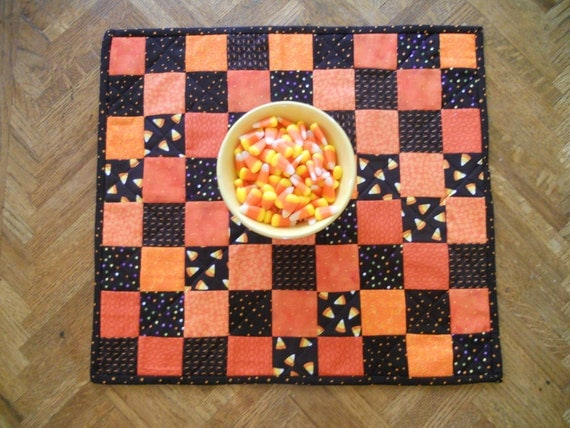 Halloween Quilted Table Topper in Orange and Black Reversible
