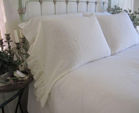 2 Ruffled Edge Ivory Linen Pillowcases