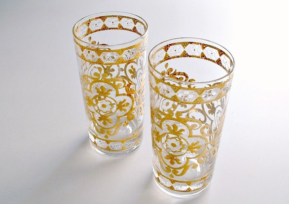 Vintage Culver Glasses Tumblers Barware Set of 2 Highballs Gold