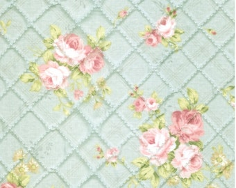 Quilted Shabby Roses Cotton By the yard (width 44 inches) 37543 Mint / Roses