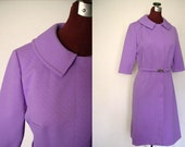 Vintage 60s Dress - Shirtwaist in Lilac Textured Polyester Knit
