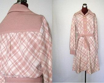 Vintage 70's Dress Mauve Pink and White Plaid Butte Knit Shirtwaist Size M / Medium