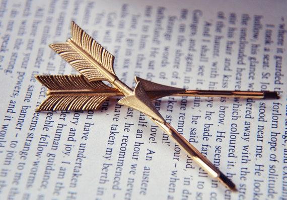 Gold Arrow Hair Pins - Gold Brass Arrows - Woodland Wedding - Gifts Under 25 - Valentines Day