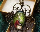 White Rabbit Pendant - Alice in Wonderland Necklace--Vampire Gothic Fairy tale Jewelry