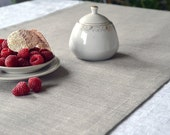 Table Runner Organic and Sheer Runner Natural Gray Linen Runner Eco Runner Linen Placemat For Two