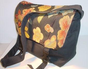 Messenger Bag, Diaper Bag, School Bag, Travel Bag, Black Denim, free I-Pad Case included