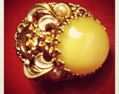 Vintage Yellow Moonstone Earrings on Brass with Small Pearls and Rhinestones
