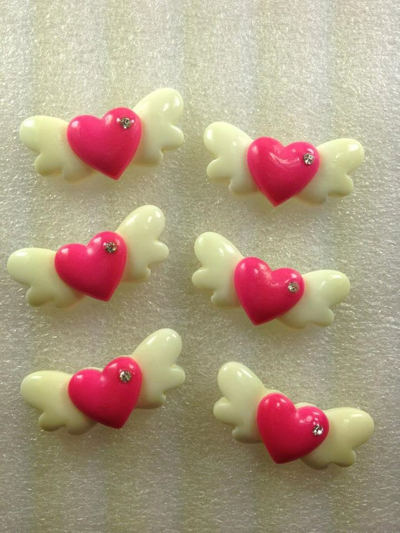 RhiNeStoNe HeArTs WiTh WiNgS Kawaii Resin Flatback Cabochon 6 pieces USA SHIPPING... 50% off Sale