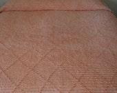 Vintage Chenille BedSpread with Fringe in Orange Sherbet