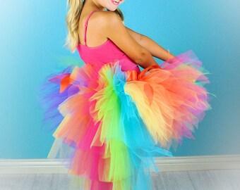 Rainbow Bustle Tutu...Colorful Birthday Tutu, Clown Costume, Dance Recital, Pageant...Infant, Toddler, Girls . . . PIXIE CANDY RAINBOW