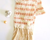 Peach Stripes Handwoven scarf, Cotton Boucle, Alpaca and Tshirt Yarn Women's Scarf with Sea Shell Barnacle Button