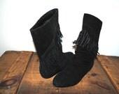 BLACK leather /suede  FRINGE BOOTS size 7.5-8