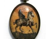 Cabochon pendant/necklace with pegasus illustration
