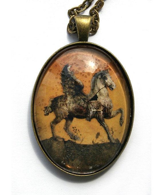 Cabochon pendant/necklace with pegasus illustration