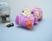 Hippo soft sculpture in purple floral print