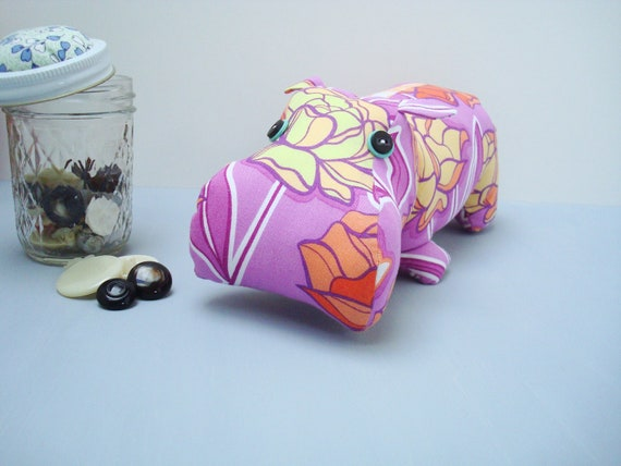 Hippo soft sculpture in purple floral print